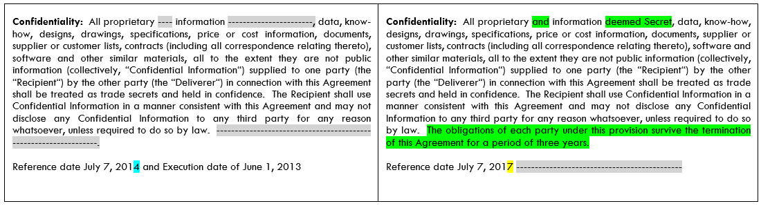Pinpoint specific differences between document text - down to the character